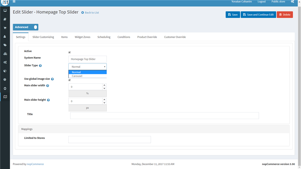 Multi Slider Settings Plugin nopCommerce - Instructions | Nop-NYCO