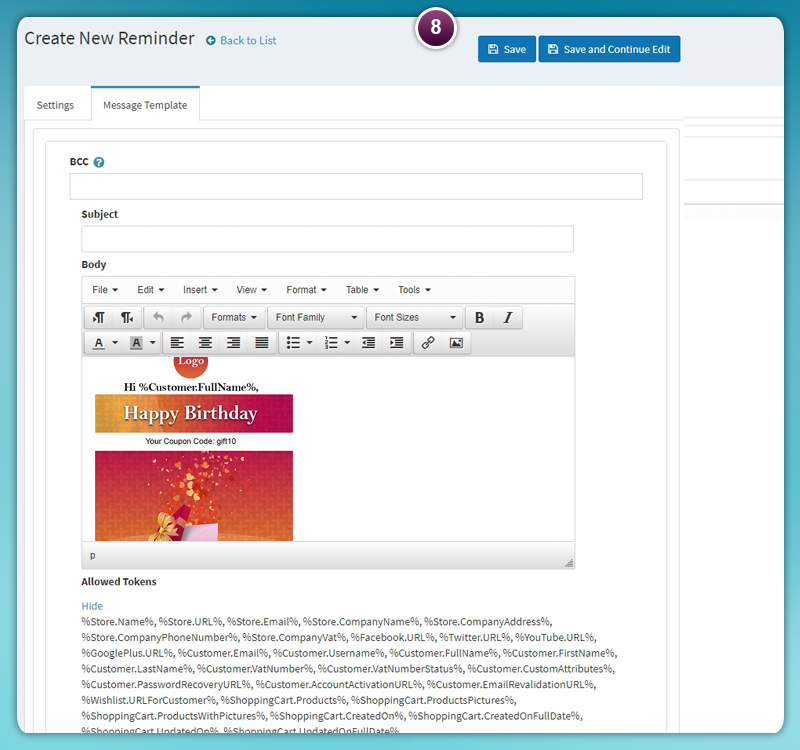 Edit Reminder Email Content | Email Reminder Plugin | Nop-NYCO Plugins and Themes