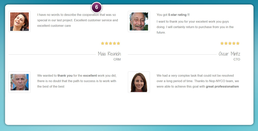 Testimonials List nopConnerce Plugin | Nop-NYCO Plugins ant Themes